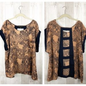 [Forever 21+] Coral Paisley Open Cutout Back Top